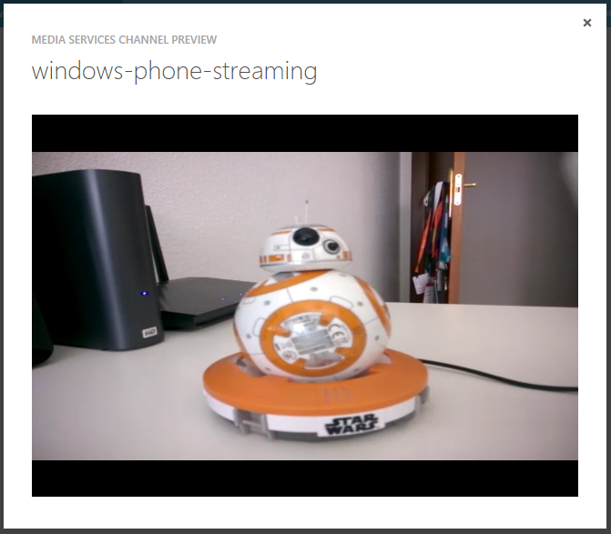 Azure Media Services Channel Preview - Windows Phone Streaming
