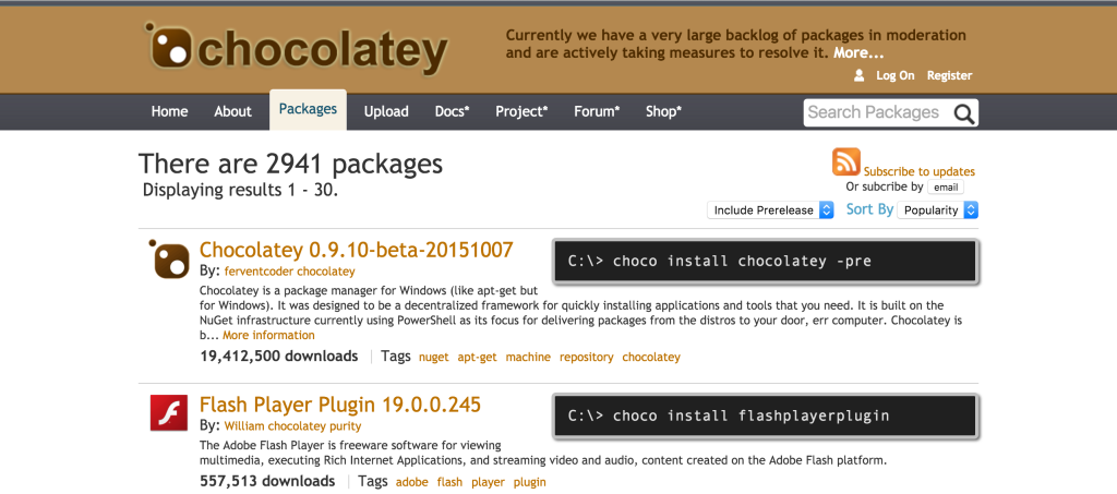 Chocolatey website packages