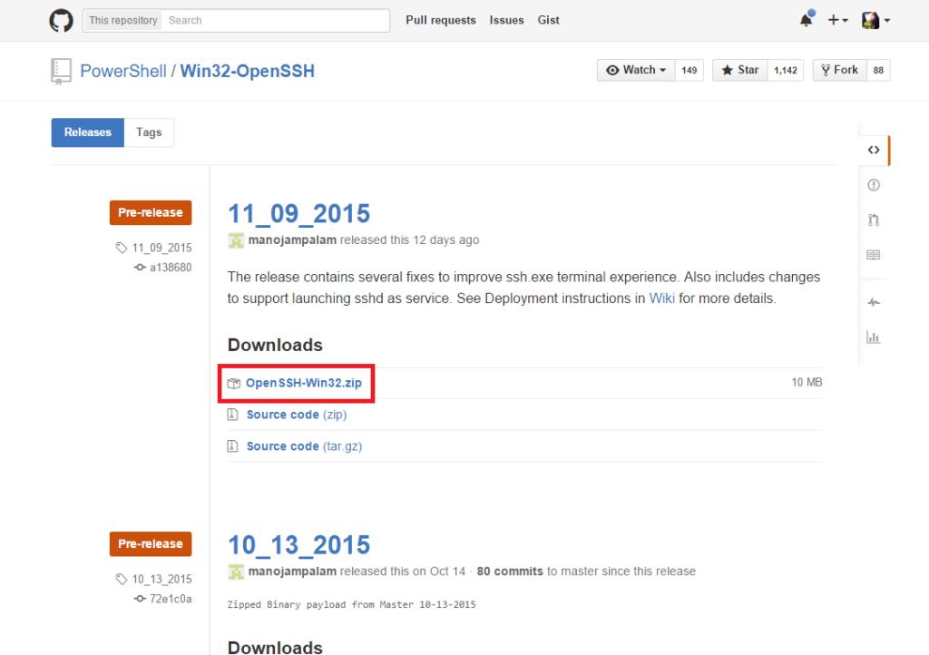 Download OpenSSH-Win32