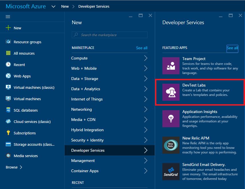 New - Developer Services - DevTest Labs