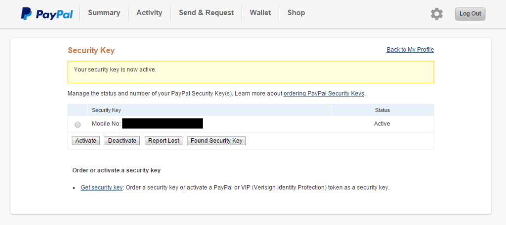PayPal - Your security key is now active