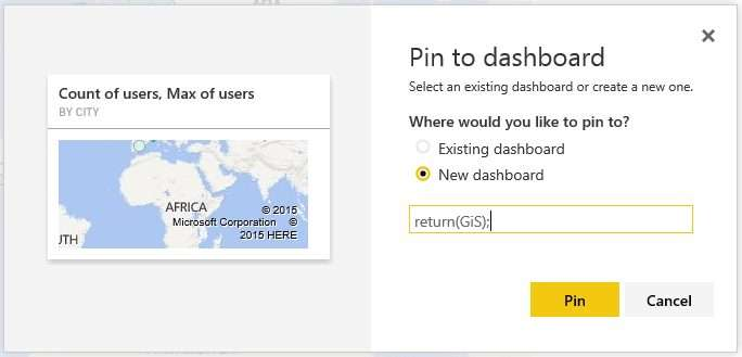 Power BI - Pin to dashboard - New dashboard