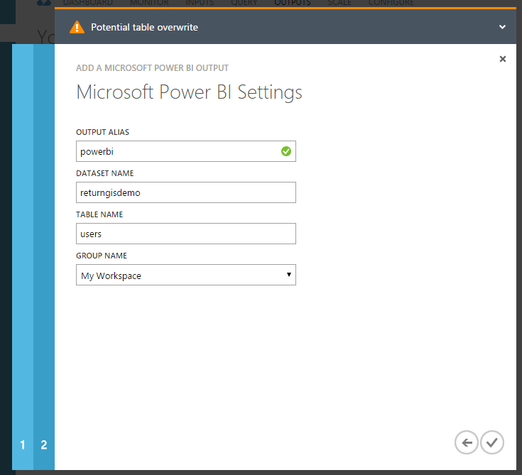Stream Analytics - Microsoft Power BI Settings