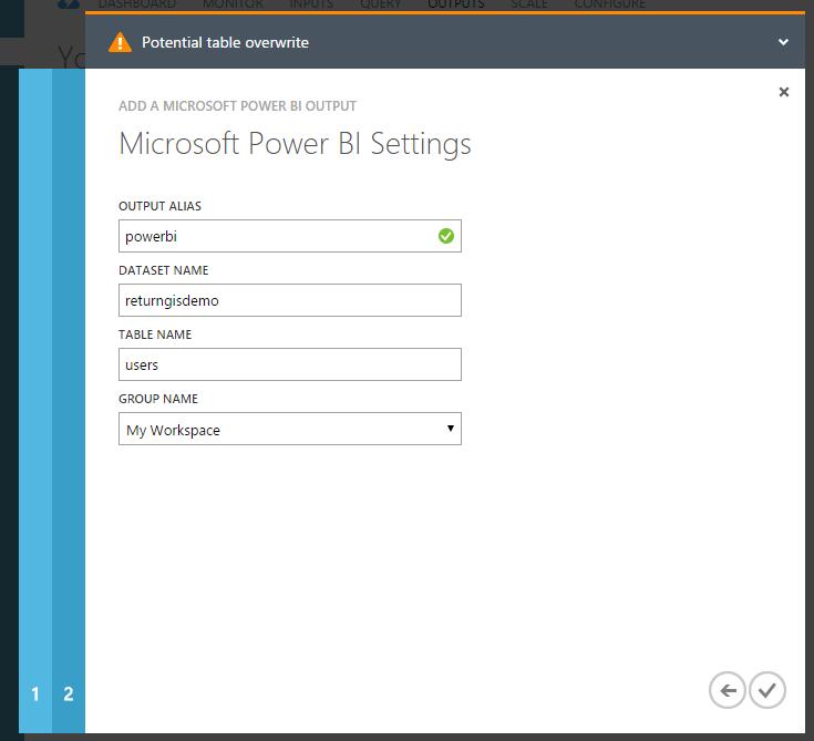 Stream Analytics - Microsoft Power BI Settings