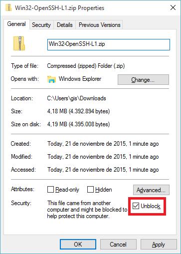 Unblock Win32-OpenSSH zip
