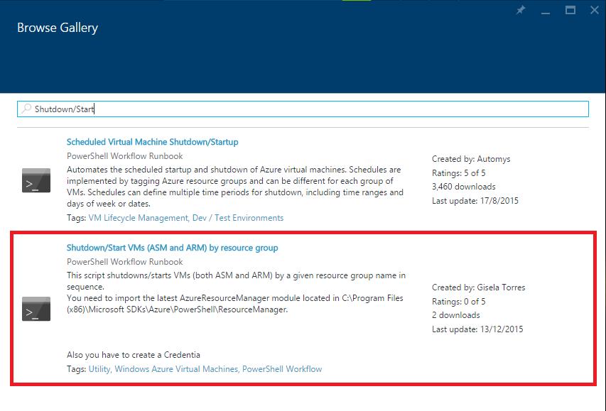 Azure Automation - Browse Gallery - Shutdown-Start VMs