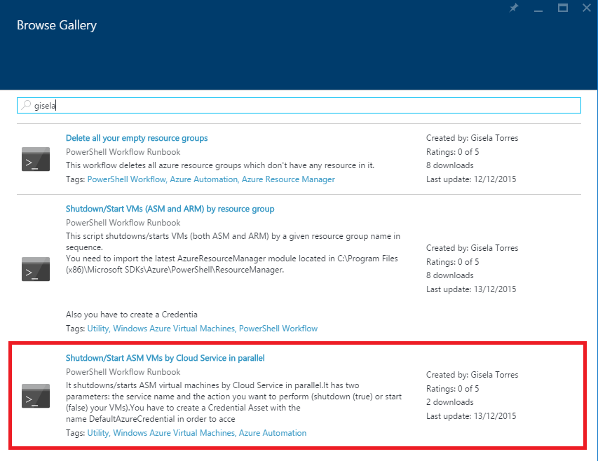 Azure Automation - Browse Gallery - Shutdown-Start-VMs-By-Cloud-Service-Parallel