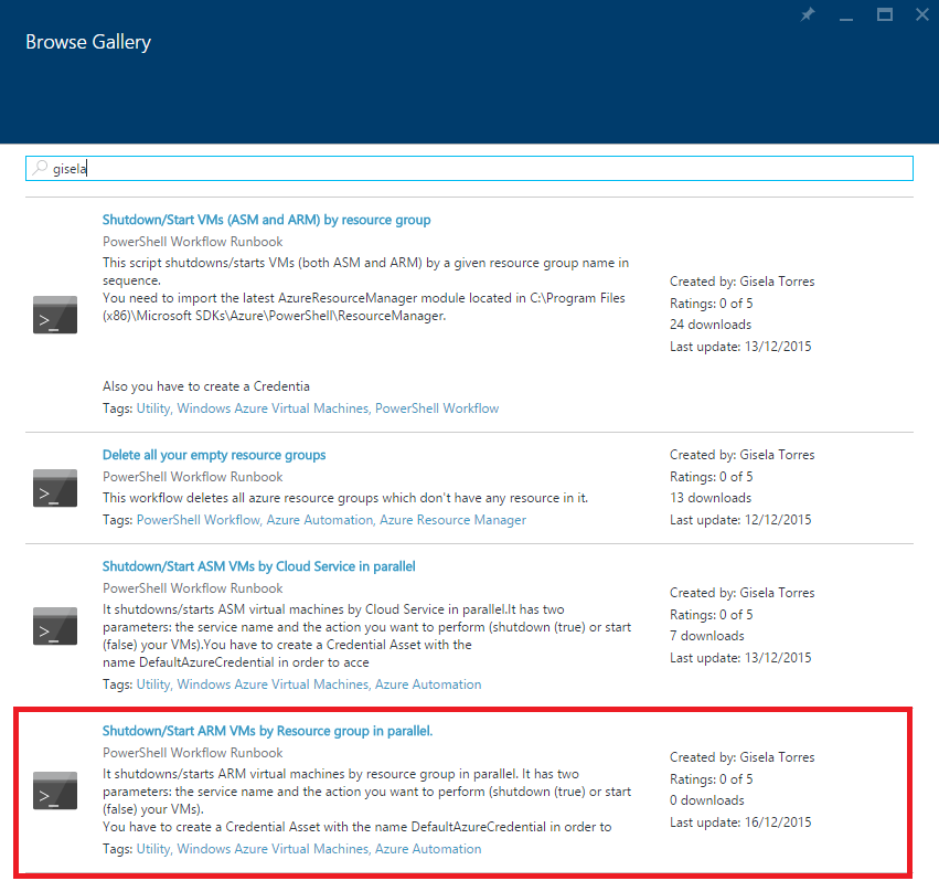 Azure Automation - Browse Gallery - Shutdown-Start-VMs-By-Resource-Group-Parallel