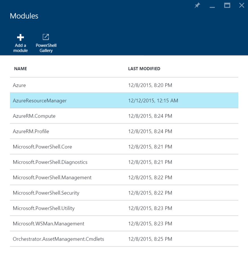 Azure Automation Modules - AzureResourceManager
