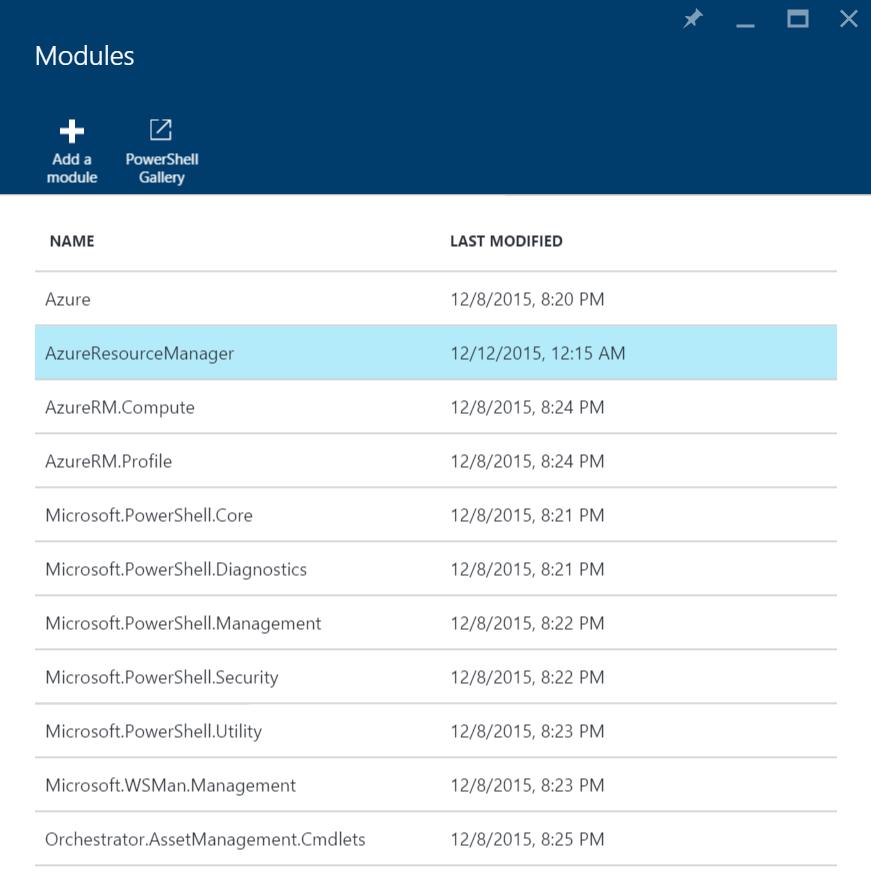 Azure Automation Modules - AzureResourceManager