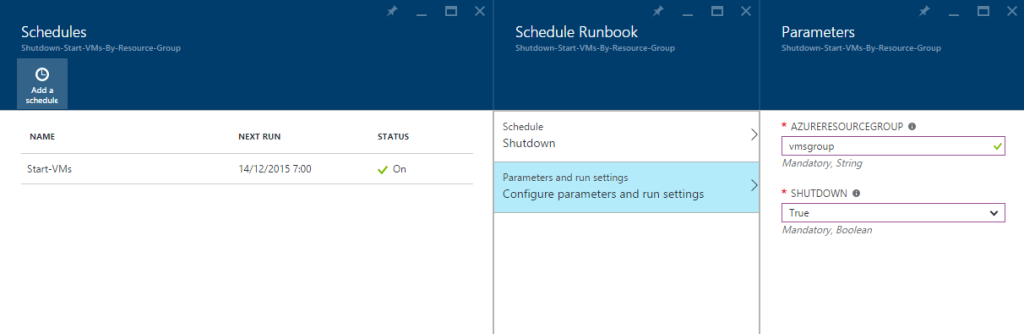 Azure Automation - Schedules