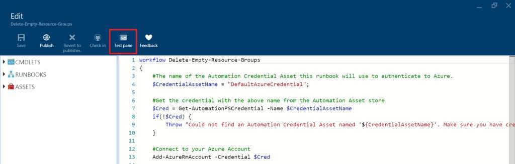 Azure Automation - Test pane