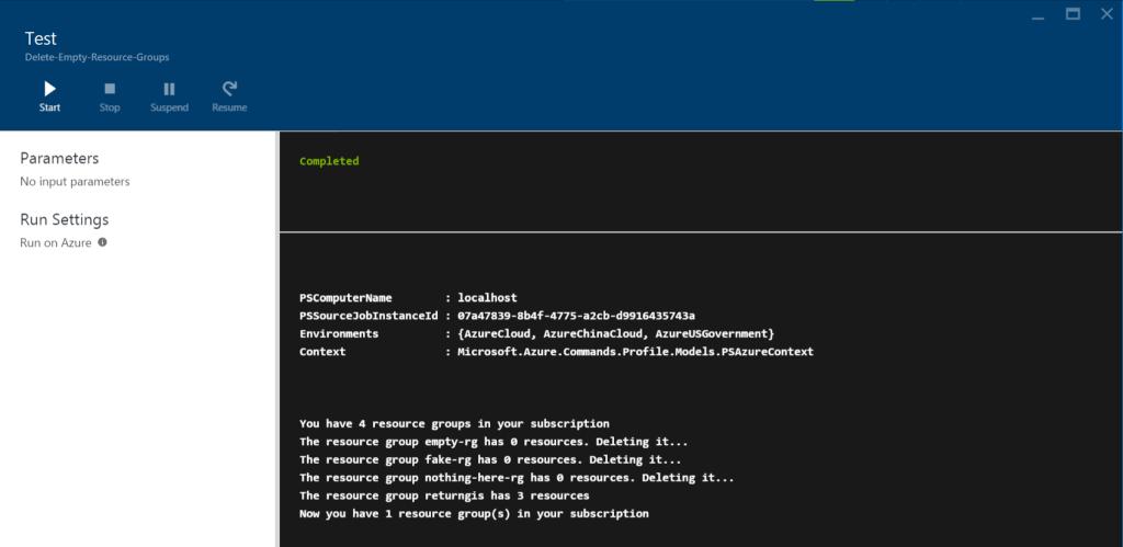 Azure Automation - Test pane - Delete Empty Resource Groups