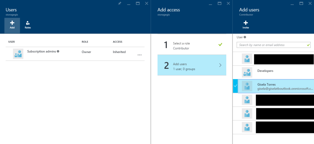 Azure Storage - Access - Users - Add access - Users