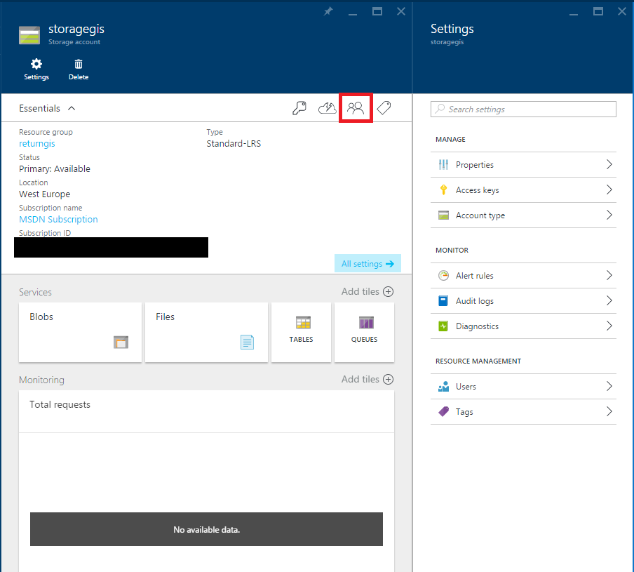 Azure Storage - Access - Users and Roles