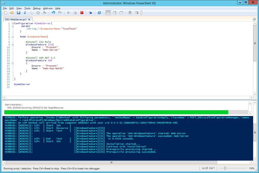 DSC Configuration - Start installation
