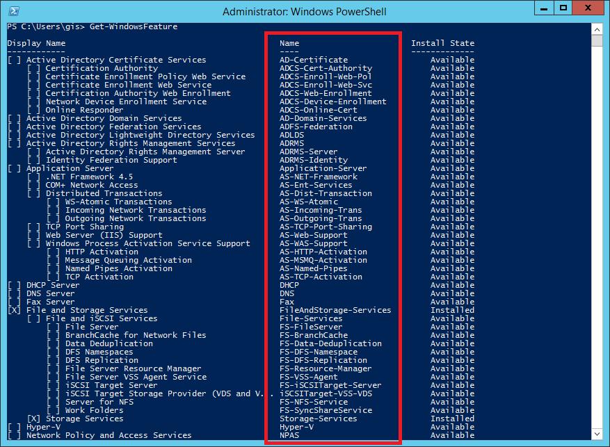 Get-WindowsFeature command