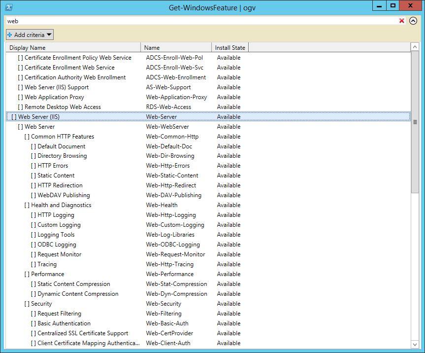 Get-WindowsFeature | ogv