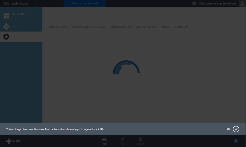 You no longer have any Windows Azure subscription to manage. To sign out, click OK.