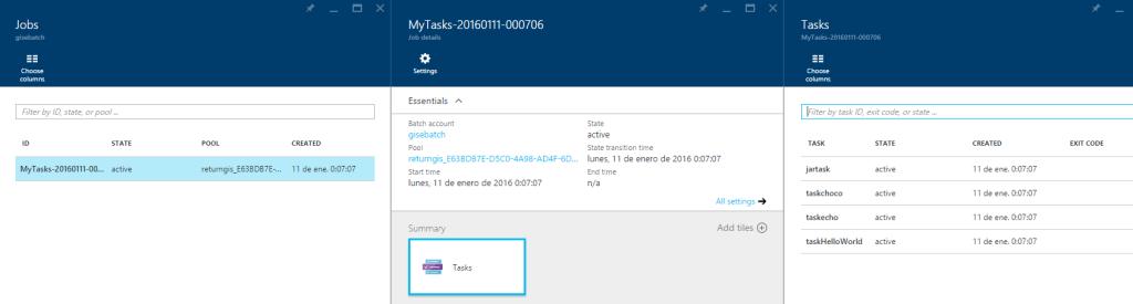 Azure Batch - Info on Azure portal