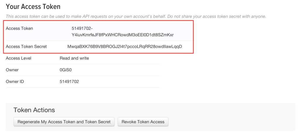 Twitter app - Your access token