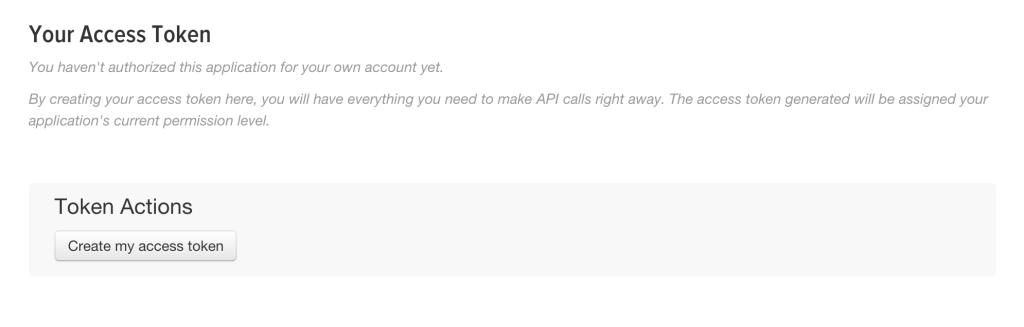 Twitter app - Your access token - Create my access token