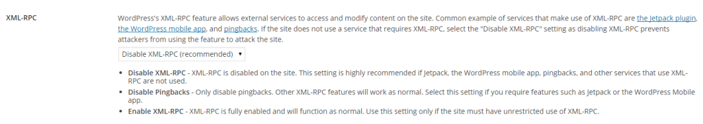 iThemes Security - XML-RPC disabled