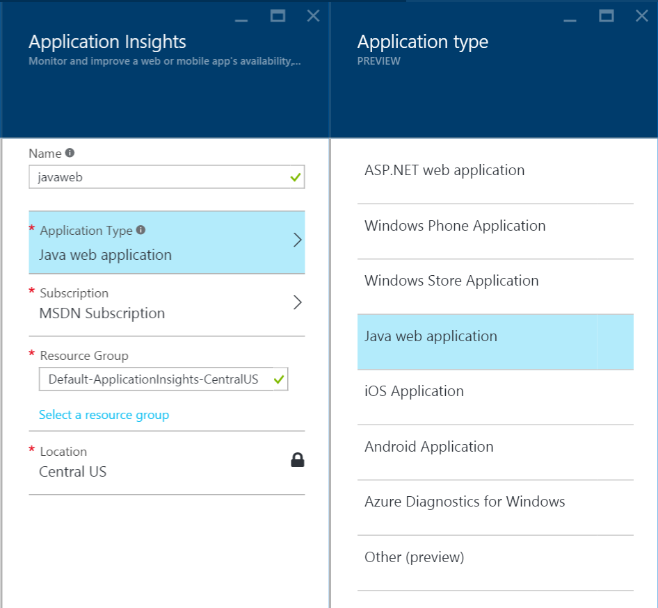 Application Insights - Application Type