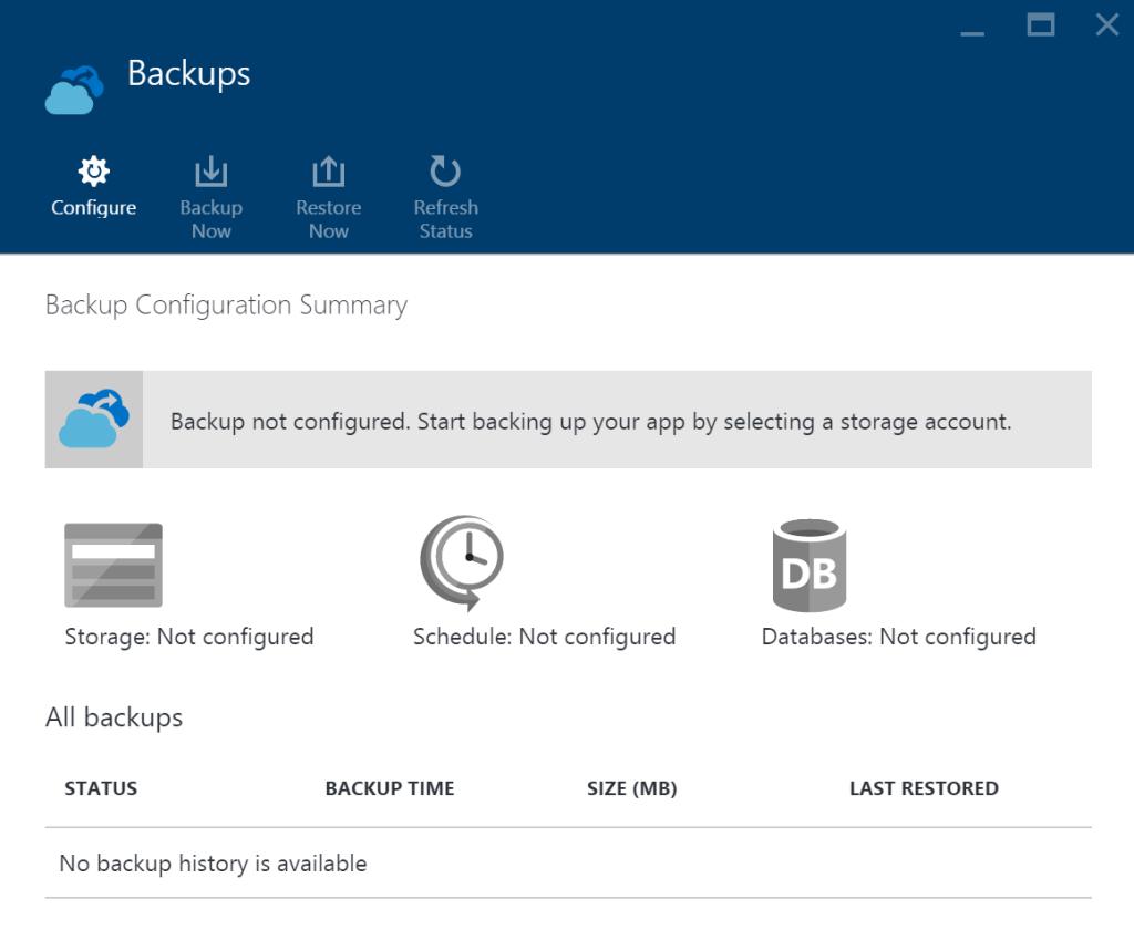 Azure App Service - Backup not configured