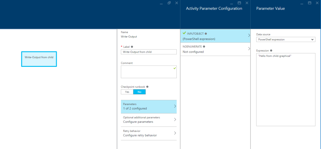 Azure Automation - Child graphical