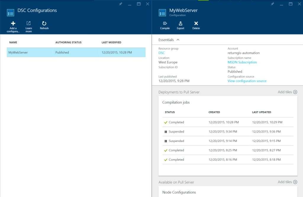 Azure Automation - DSC Configurations