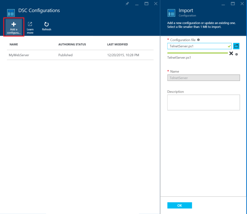 Azure Automation - DSC Configurations - Add a configuration