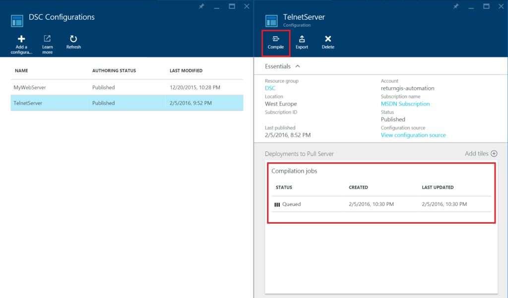 Azure Automation - DSC Configurations - Compile DSC Script