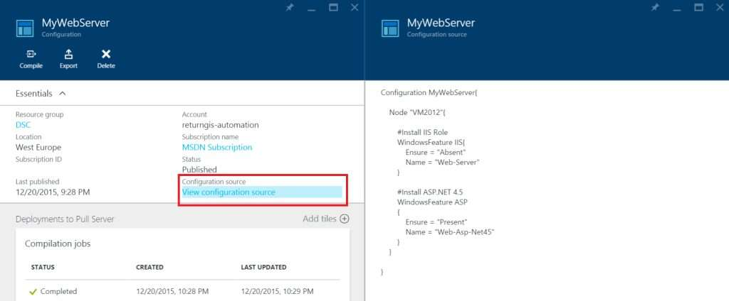 Azure Automation - DSC Configurations - View configuration source