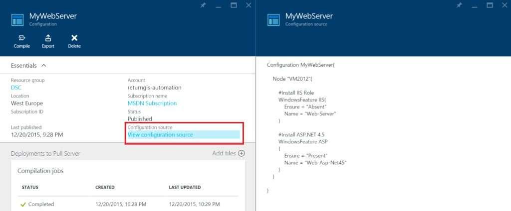 Azure Automation - DSC Configurations - View configuration source