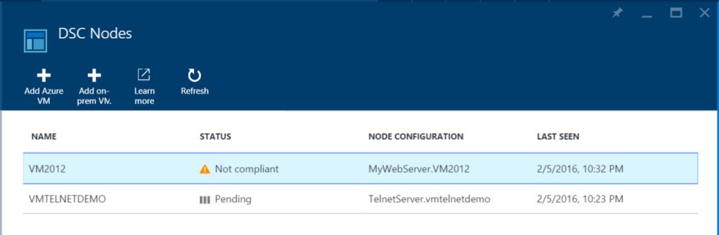 Azure Automation - DSC Nodes - No compliant - Pending