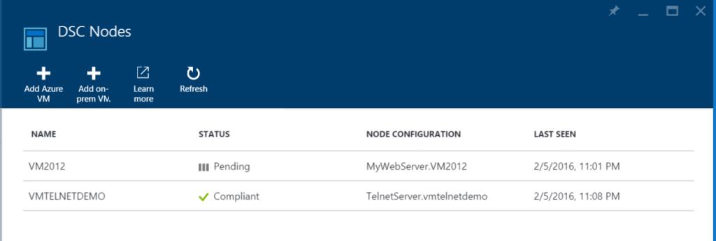 Azure Automation - DSC Nodes - VMTELNETDEMO - Compliant