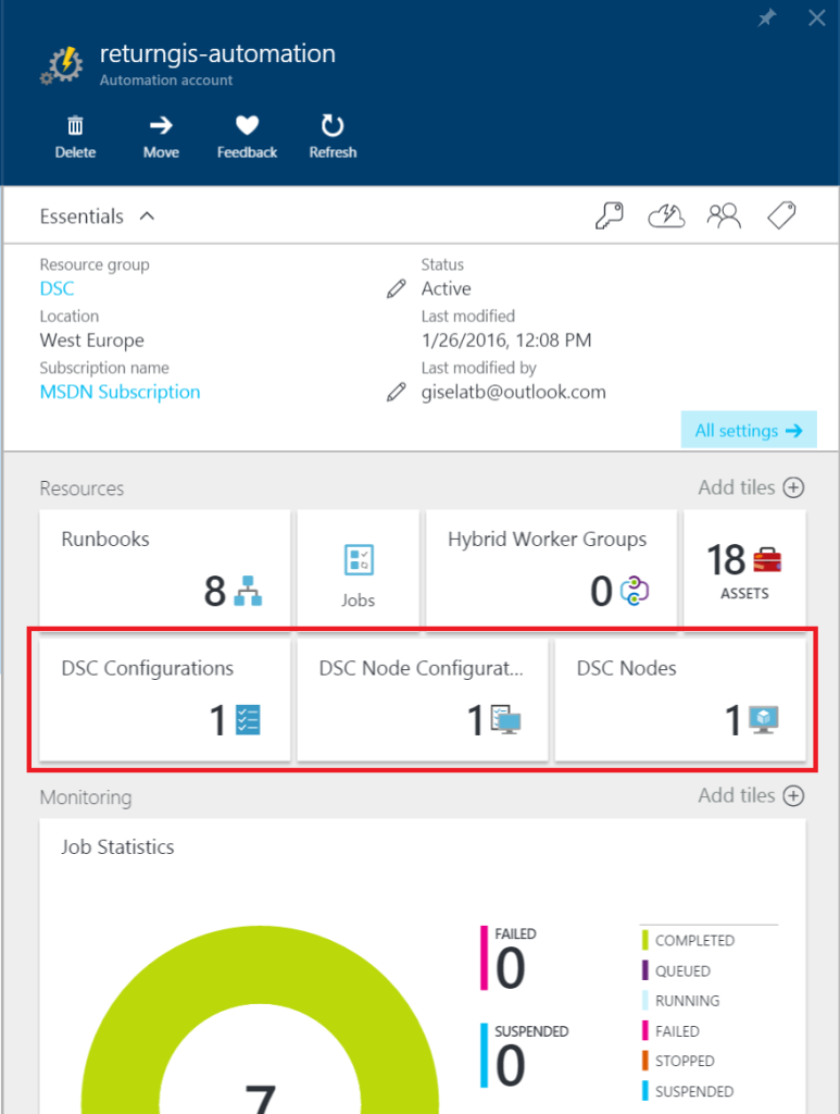 Azure Automation - DSC sections