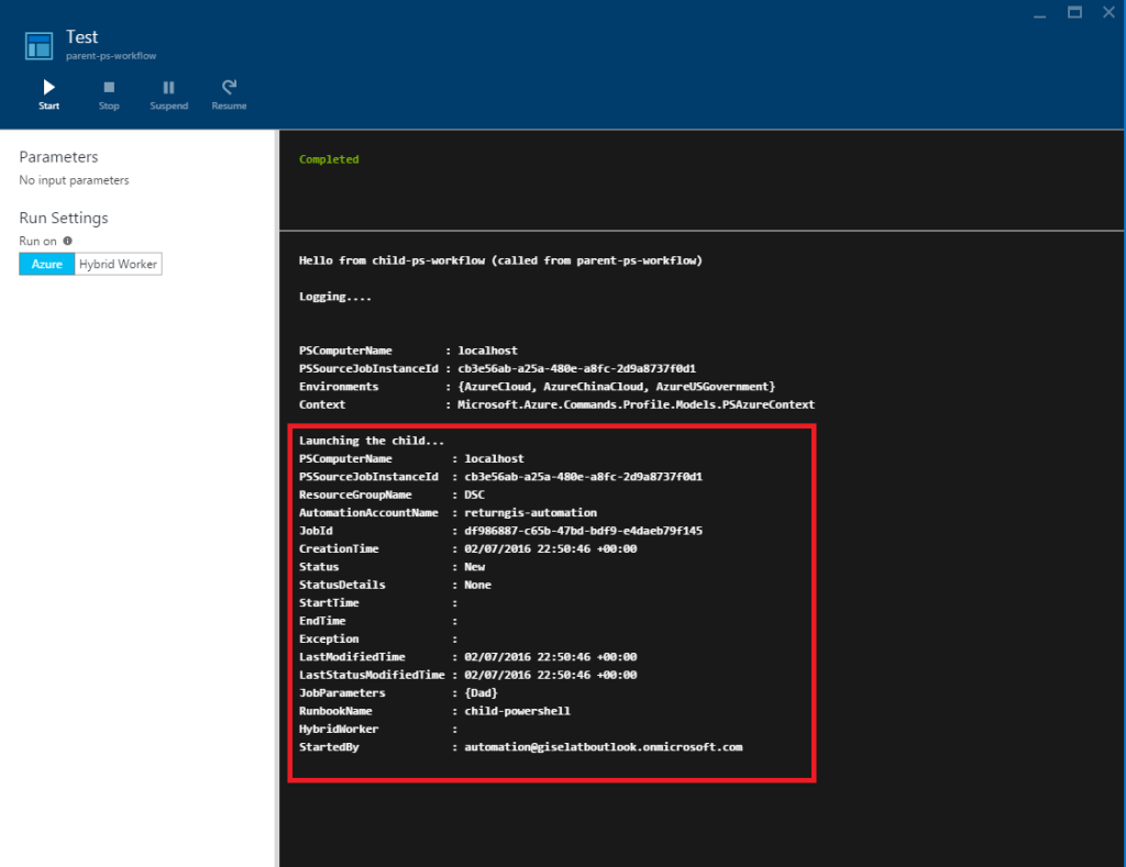Azure Automation - Test - Start-AzureRmAutomationRunbook