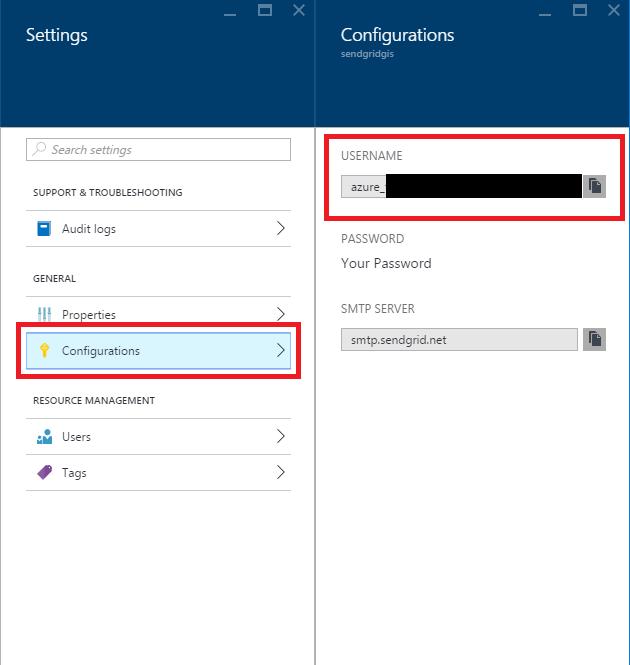 Microsoft Azure - SendGrid - Settings - Configurations
