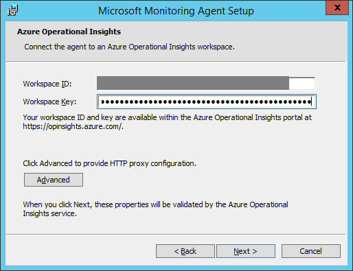 Microsoft Monitoring Agent - Workspace ID and Workspace Key