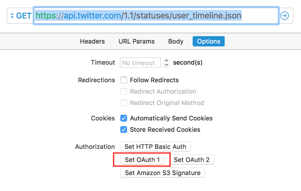 Paw - Twitter - Options - Set OAuth 1