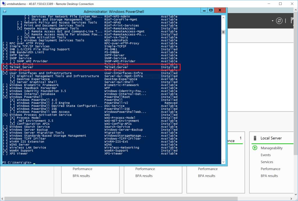 RDP - vmtelnetdemo - Telnet-Server feature installed