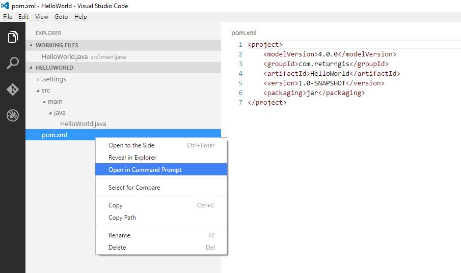 Visual Studio Code - Open in Command Prompt