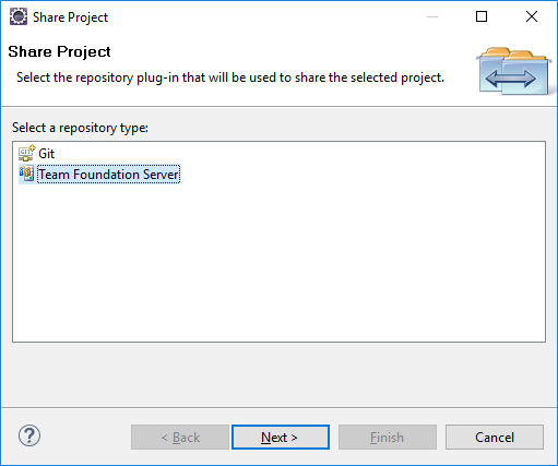 Eclipse - Share Project - Team Foundation Server