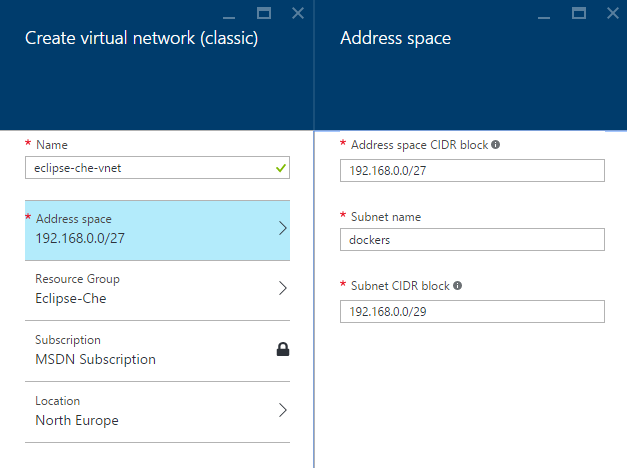 Microsoft Azure - Create virtual network classic
