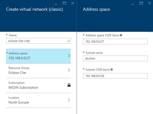 Microsoft Azure - Create virtual network classic