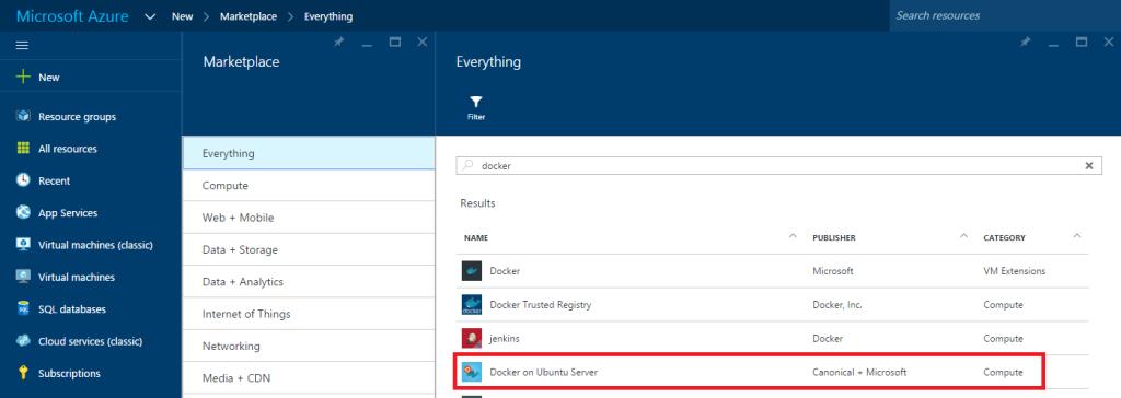 Microsoft Azure - Docker on Ubuntu Server