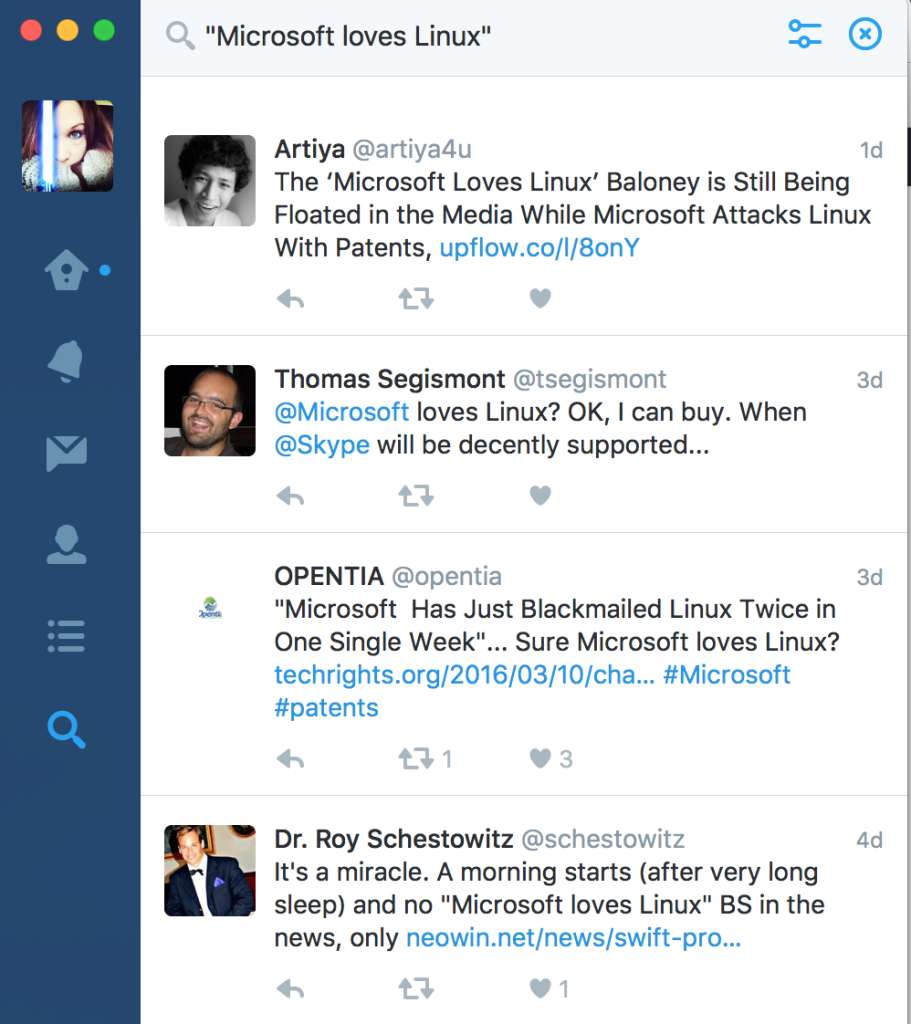 Twitter Search - Microsoft Loves Linux