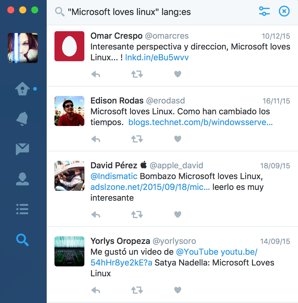 Twitter Search - Microsoft loves linux lang es